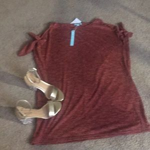 She & Sky cold shoulder tunic dress in rust